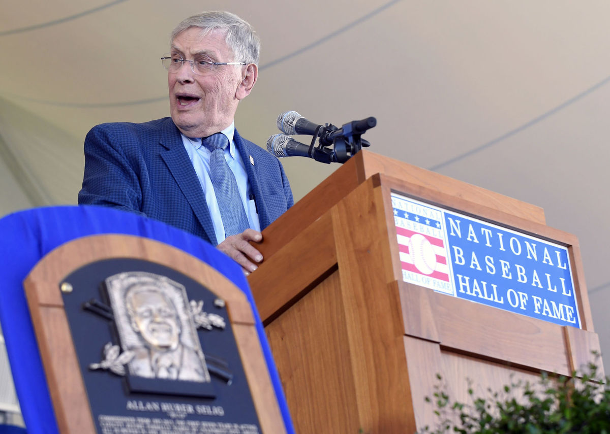Bud Selig speaks during Sunday's induction ceremony to the National Baseball Hall of Fame.